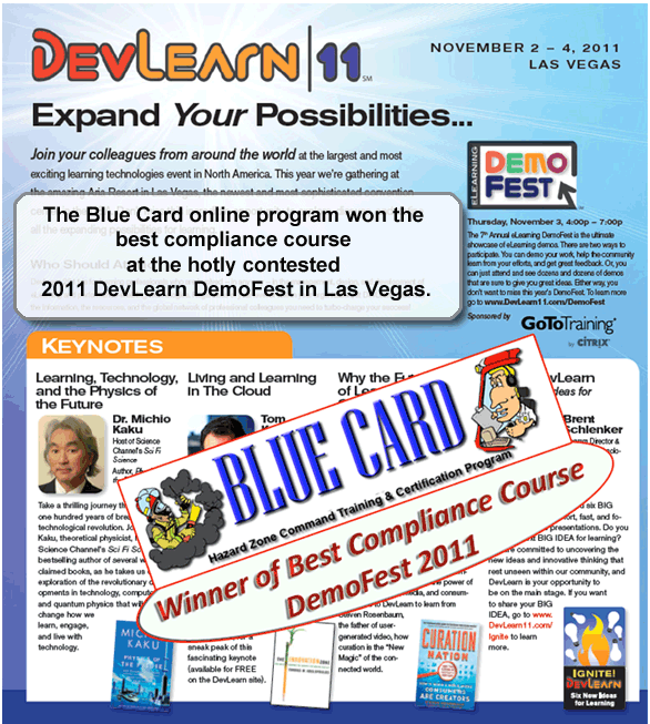 Blue Card - Best Compliance Course Winner Devlearn 2011
